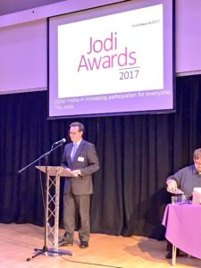 Ross Parry, Jodi Trustee, talking at the Awards evening 2017